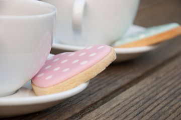 Photograph of Spotty Vanilla Heart Iced Biscuits baked by Jane.
