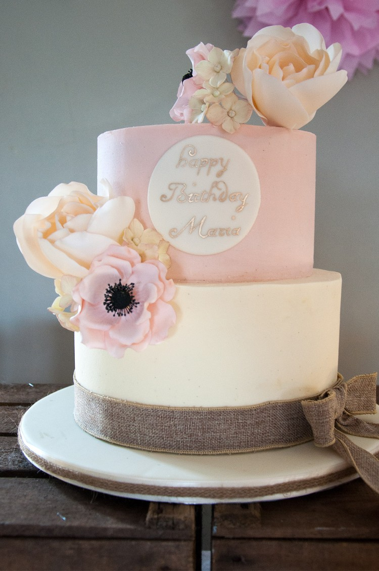 Vintage Cake Decorated with Rose and Anemone Flowers Baked by Jane