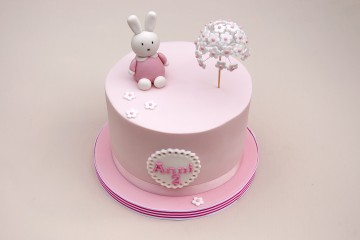 Photograph of Pink Miffy Bunny Birthday Cake baked by Jane.