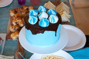 Photograph of Blue Icing Cake and Chocolate baked by Jane.