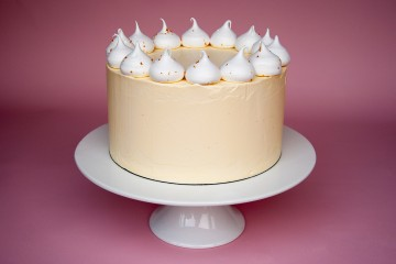 Photograph of Lemon Meringue Cake baked by Jane.