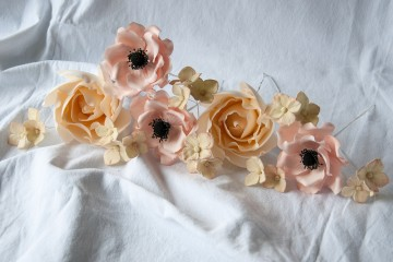 Photograph of Vintage Cake Decorated with Rose and Anemone Flowers  baked by Jane.