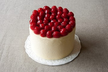 Photograph of White Chocolate and Raspberry Cake baked by Jane.