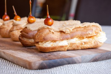 Photograph of Salted Caramel, Coffee and Praline Eclairs baked by Jane.