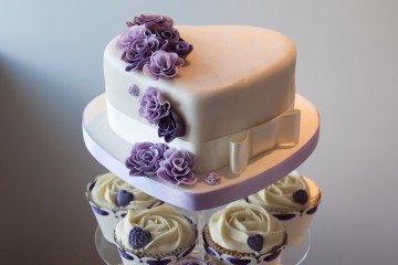 Photograph of Ruffle Rose Wedding Cake baked by Jane.